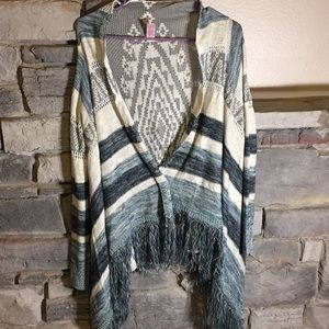 Blue & Grey Sweater Shawl with Sleeves Size Small